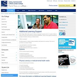 Ealing, Hammersmith & West London College - Additional Learning Support