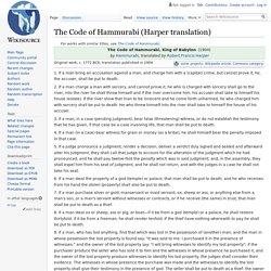 The Code of Hammurabi (Harper translation) - Wikisource, the free online library