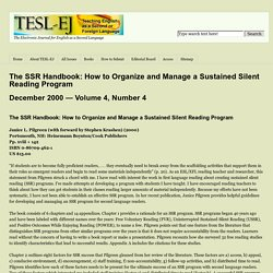 The SSR Handbook: How to Organize and Manage a Sustained Silent Reading Program