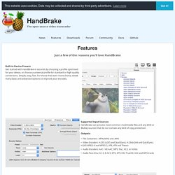 HandBrake: Features