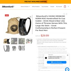5MoonSun5's VIKING DRINKING HORN MUG Handcrafted Ox Cup Goblet - Drink Mead & Beer Like Game of Thrones Heroes With This Large Ale Stein - Great Craftsmanship A Perfect Present For Real Men - 5MoonSun5
