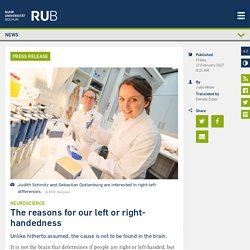 The reasons for our left or right-handedness - Newsportal - Ruhr-Universität Bochum