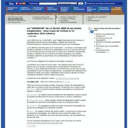 """Loi """"HANDICAP"""" du 11 février 2005 et ses textes d'application -"""