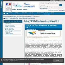 Lettre TIC'Édu Handicap et numérique N°01 — Enseigner avec le numérique