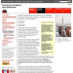 Lutte à la pauvreté et à l'exclusion au Québec: un bilan d'ensemble mitigé, y compris pour les personnes handicapées