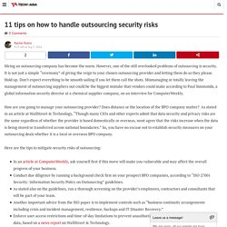 11 Tips on How to Handle Outsourcing Security Risks