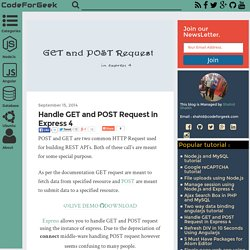 Handle GET and POST Request in Express 4