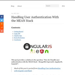 Handling User Authentication with the MEAN Stack - Michael Herman