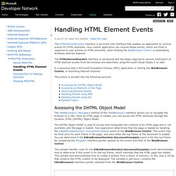 Handling HTML Element Events