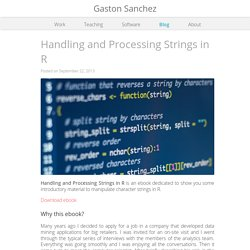 Handling and Processing Strings in R