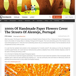 1000s Of Handmade Paper Flowers Cover The Streets Of Alentejo, Portugal