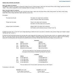 Handout: Kasus: Nominativ und Akkusativ