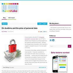 On dustbins and the price of personal data