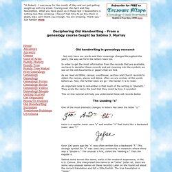 Old handwriting - Deciphering old handwriting in genealogy
