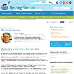 Handwriting in the Time of Common Core