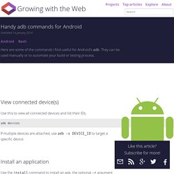Handy adb commands for Android - Growing with the Web