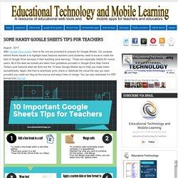 Some Handy Google Sheets Tips for Teachers