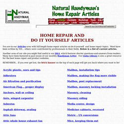 Natural Handyman - Home repair and do it yourself articles list