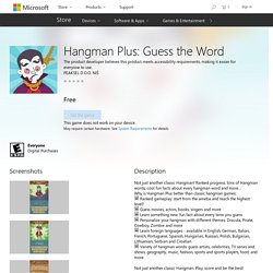 Hangman Plus: Guess the Word – Games on Microsoft Store