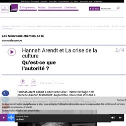 Hannah Arendt et La crise de la culture (1/4) : Qu'est-ce que l'autorité ?