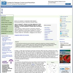 CDC DEC 2009 Cross-sectional Survey of Hantavirus Infection, Brazil