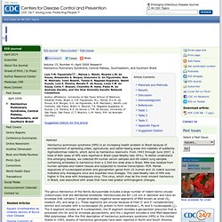 CDC EID AVRIL 2009 Hantavirus Pulmonary Syndrome, Central Plateau, Southeastern, and Southern Brazil