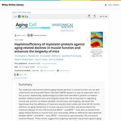 Haploinsufficiency of myostatin protects against aging-related declines in mu...