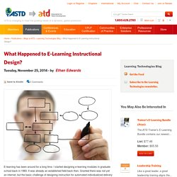 What Happened to E-Learning Instructional Design?
