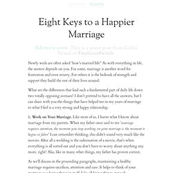 Eight Keys to a Happier Marriage