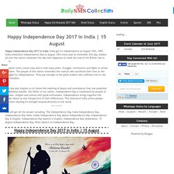 Happy Independence Day 2017 in India