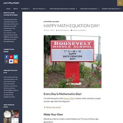 Happy Math Equation Day!