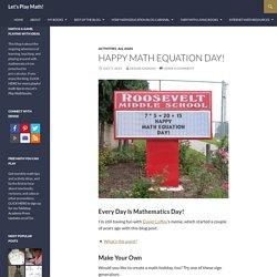 Happy Math Equation Day!