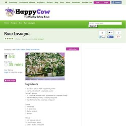 Raw Lasagna Vegetarian Recipes