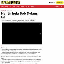 Här är hela Bob Dylans tal