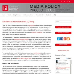Safe Harbour: Key Aspects of the ECJ Ruling