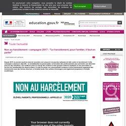 """Non au harcèlement : """"Le harcèlement, pour l'arrêter, il faut en parler"""" - Ministère de l'Éducation nationale et de la Jeunesse"""