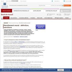 Harcèlement moral : définition, sanctions