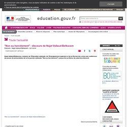 """""""Non au harcèlement"""" : discours de Najat Vallaud-Belkacem"""