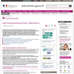 Lutter contre le harcèlement à l'école : l'affaire de tous !