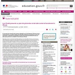 Luc Chatel présente un plan de prévention et de lutte contre le harcèlement à l'École
