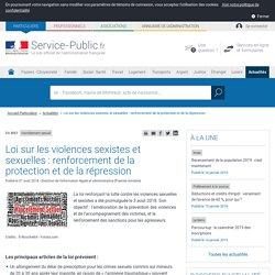 Harcèlement sexuel -Loi sur les violences sexistes et sexuelles: renforcement de la protection et de la répression