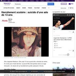 Harcèlement scolaire : suicide d'une ado de 13 ans