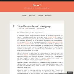 """""""Harcèlement de rue"""": témoignage"""