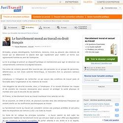 Le harcèlement moral au travail en droit français