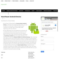 Hard Reset Android Device - Android MTP