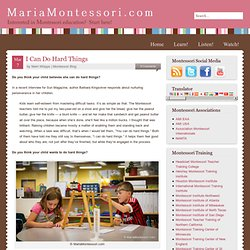 I Can Do Hard Things — Maria Montessori