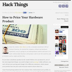 How to Price Your Hardware Product