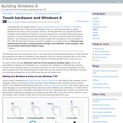 Touch hardware and Windows 8 - Building Windows 8