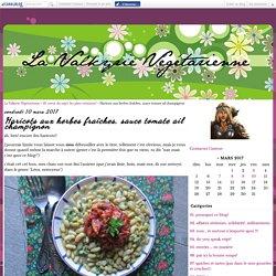 Haricots aux herbes fraîches, sauce tomate ail champignon