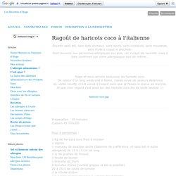 Ragoût de haricots coco à l'italienne - Les recettes d'Hugo